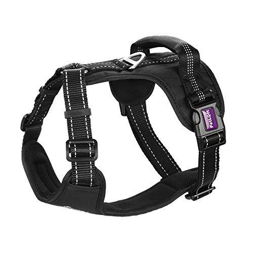 PETLOFT Hundegeschirr, Verstellbar Brustgeschirre mit Edelstahlringen No-Pull Reflektierende Dog Harness, Einfache Steuerung Hundegeschirr für Kleine Mittlere Große Hunde (L, Schwarz)