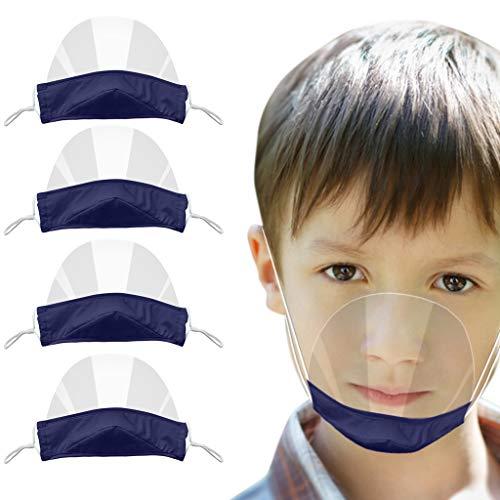 4 Stück kinder Transparente Offene Gesichtsschutz, half-Face Visier Kunststoff Klarer Gesichtsschutz Elastisch Komfortabel Tragender Mundschutz für kinder (C)