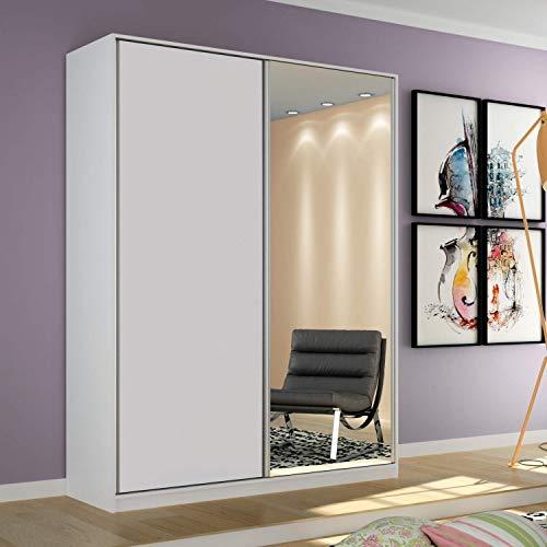 Guarda Roupa Solteiro com Espelho 2 Portas de Correr Terrazo Siena Móveis Branco
