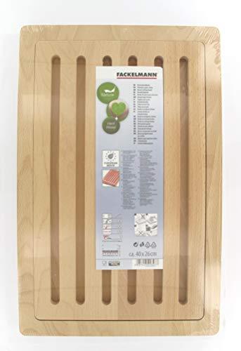 Fackelmann 521327 Planche à Pain avec Partie détachable, Bois, Marron, 40 x 26 x 1,9 cm