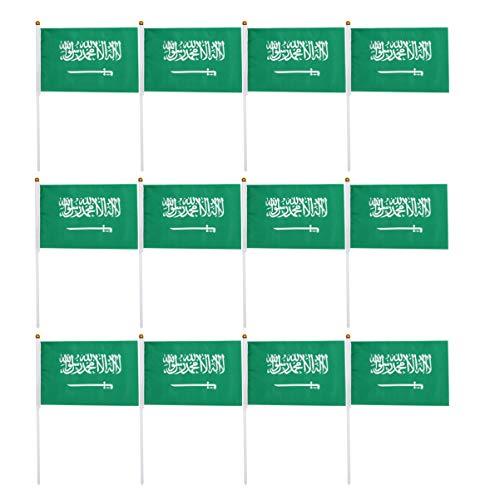 LIOOBO 100 Piezas Saudita Arabia Bandera de Palo Pequeñas Banderas en El País Internacional Del Mundo Banderas de Palo para La Decoración Del Jardín Del Aula de Fiesta
