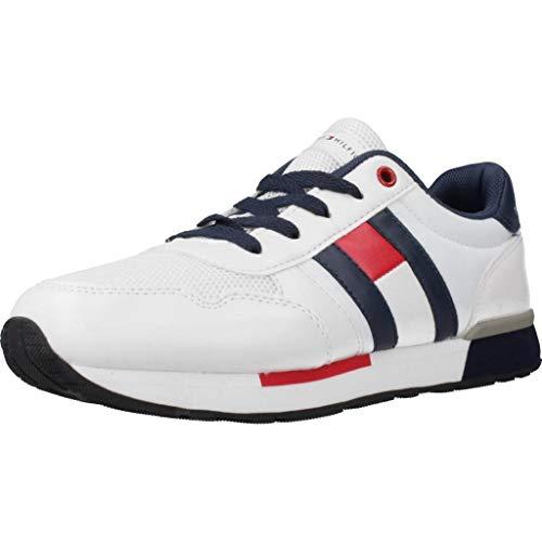Tommy Hilfiger T3B4-30483-0733 Blanco/Azul Eco Cuero Jóvenes Entrenadores Zapatos