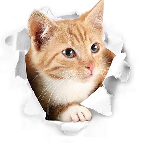 Pegatina de pared en 3D dibujo de gatito