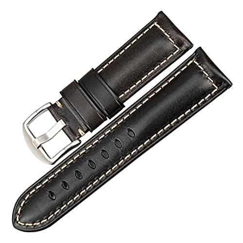 Correa de Reloj Rojo 20mm 22mm 24mm Reloj del Cuero de la Correa del Reloj de la Vendimia de la Banda Hombres Mujeres Correas de Reloj, Luz Negro S, 26mm