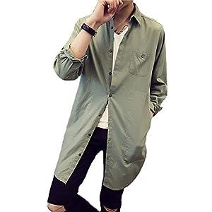 Veamor メンズ 長袖 綿麻 ロング丈 シャツ ファッション 薄い コート ジャケット カジュアル カットソー