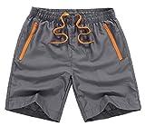 MADHERO Men Swim Trunks with Zipper Pockets Quick Dry Bathing Suits Mesh Lining,Dark Grey,Size M