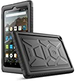 Poetic TurtleSkin Case for All-New Amazon Fire HD 8 Tablet (7th and 8th Generation, 2017 and 2018 Release) - Heavy Duty Silicone case and Sound-Amplification Feature Cover - Black