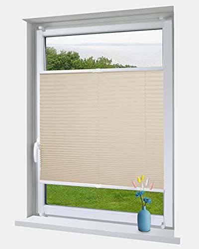 OBdeco Plissee Rollo Klemmfix ohner Bohren Faltrollo für Fenster Blickdicht Sonnenschutz Easyfix (Creme, (BreitxHoch) 100cmx130cm)