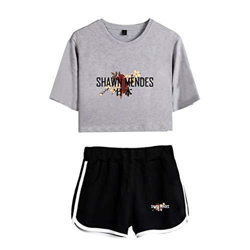 CTOOO Trend Damen Gedenkkleid Shawn Mendes Kurz Shirt, Casual Street Stil T-Shirt Und Shorts Zweiteiliger Anzug Frauen,Nabel T-Shirt Loose Fit, XS-XXL