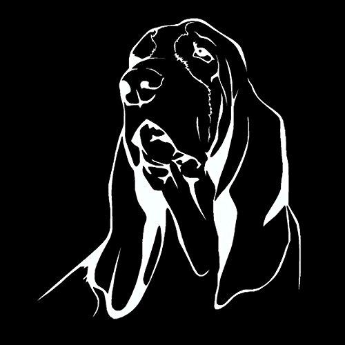 WYZJ-Pegatinas de moda Etiqueta engomada del coche Hound Dog Pegatina de coche PVC Reflexivo Calcomanías Camión Diseño Negro/Plata 17.8x 20.3cm (Color Name : White)
