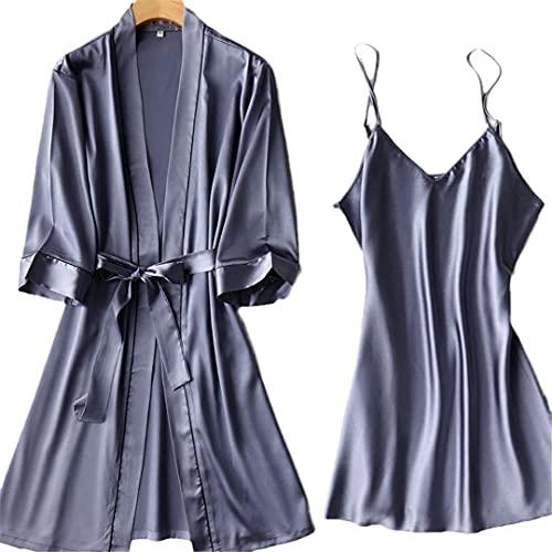 INSTO Womens satin sovkläder brud brudtärna brudklänningar rock myskläder sommar badrock pyjamas, stil 22, L