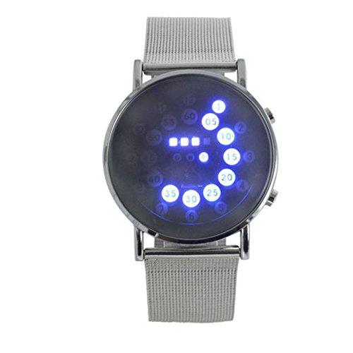 ALIKEEY heren chronograaf kwartsuurwerk Rer spiegel Blue Circles roestvrij stalen horloge met plaatstalen armband