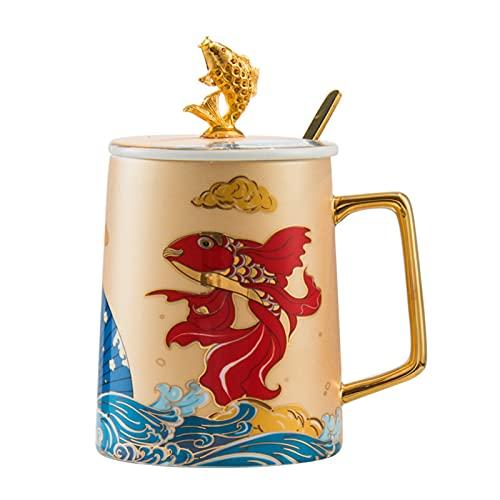 Xiaojian Porzellantasse Kaffeetasse Kreative Teetassen mit Deckel und L?ffel, aus Keramik Elegante Milchbecher mit Henkel Porzellan Tasse 400-500ML Kreative Geschenke für Freunden Familien B