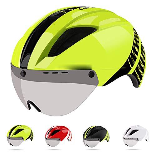 Casco Bicicleta,Adulto Profesional Casco de Bicicleta de Carretera con Gafas Desmontables,CE Certified...
