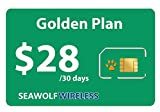 Seawolf Wireless Prepaid SIM Card Golden Plan - Unlimited Call and Text in USA Canada and International Countries - Use Your Unlocked GSM Phone - Keep Your Old Phone Number