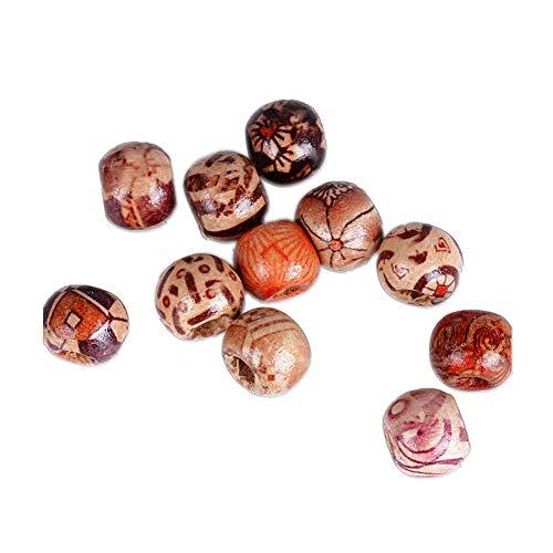 AONER (Dia. 10mm) 400 pz Mini Perline Perle Legno Rotonde per Gioielli Fai da Te Collane Braccialetti Bigiotteria