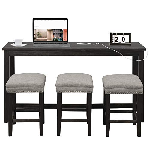 COSTWAY 4-Piece Bar Table Set with USB Interface and Power Socket, Rectangular Counter Height Dining Pub Table Set with 3 Bar Stools, Contemporary Hard Wood Breakfast Table Set for Home, Bistro