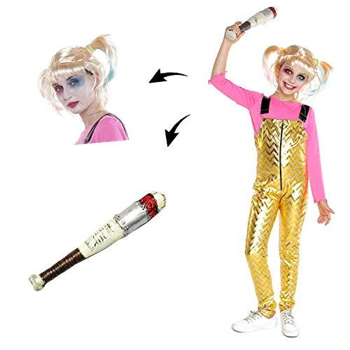 Disfraz Crazy Harlequin Niña Mono Dorado con Bate Peluca【Tallas Infantiles de 3 a 15 años】[10-12 años] Disfraz Niña Halloween Carnaval Cosplay Villanas Superheroínas Chaqueta Bicolor Mono Dorado
