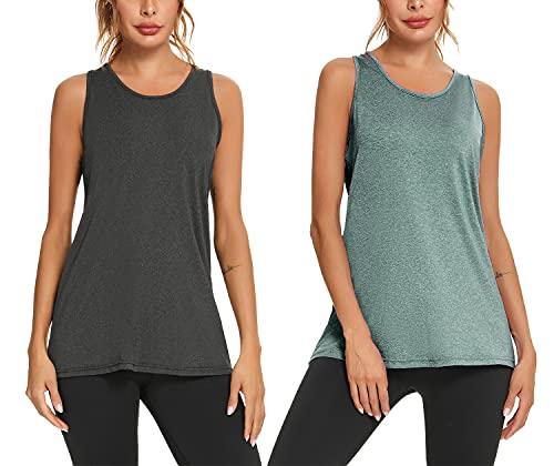 Aibrou Damen Sporttop Yoga Tank Top Fitness Laufen Funktions Shirt 1er/5er Pack Hellgrün+Schwarz-1 XL