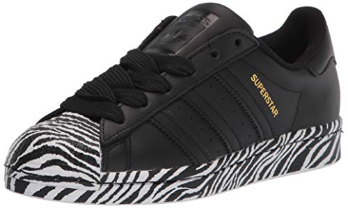 adidas Originals Women's Superstar Shoes Sneaker, Black/Gold Metallic/White, 5.5