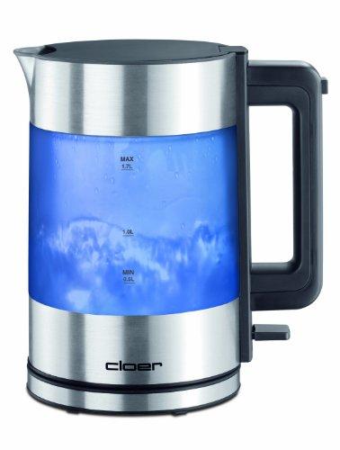 Cloer 4019 Wasserkocher mit innen beleuchtetem Gehäuse / 1800 W / 1,7 Liter / integrierter Kalkfilter / mattierter Aluminium-/Kunststoffbehälter