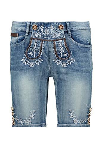 Hailys Damen Trachten Bermuda Jeans Franzi Lederhosen-Look Oktoberfest Blau S