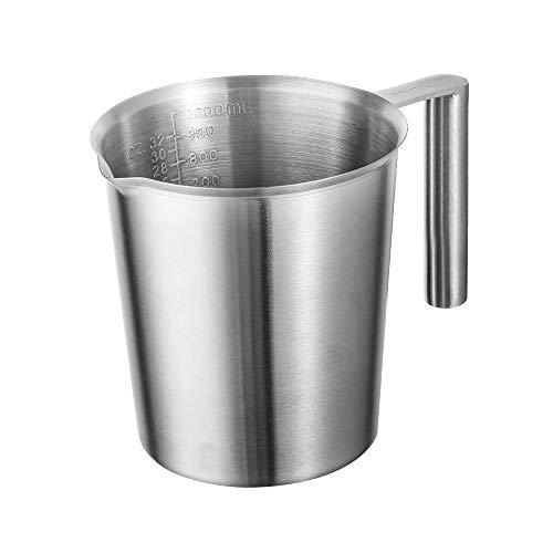 Jarra medidora de acero inoxidable de 1 L con marca en ml/oz de leche espumante jarra multiusos de metal para derretir cera, apta para lavavajillas
