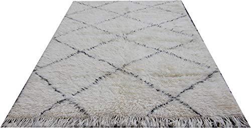 MAREL-DIDI Beni Ourain Teppich aus Marokko, Berberteppich 145 x 208 cm, handgeknüpft, Flormaterial aus 100% Schurwolle, hat ca. 13.500 Knoten per m2, Gesamthöhe ca. 20-25 mm, Einzelstück (Unikat).
