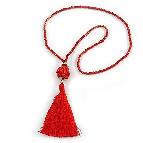 Avalaya - Collar de Borla de algodón con Cuentas de Cristal Rojo, 72 cm de Largo, 14 cm de Borla