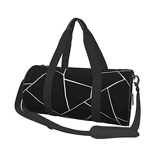 Bolsa de deporte para gimnasio, color negro, blanco, geométrico, estilo Glam Geo Decor Art Super ligero, bolsa de viaje, bolsa de viaje para gimnasio, deportes, viajes, natación
