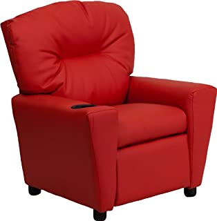 Flash Furniture Contemporary Red Vinyl Kids Recliner with Cup Holder - BT-7950-KID-RED-GG