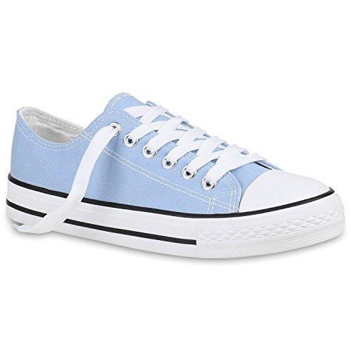 stiefelparadies Damen Sneaker Low Basic Turnschuhe Canvas Sportschuhe Schn 157761 Hellblau Basic 36 Flandell