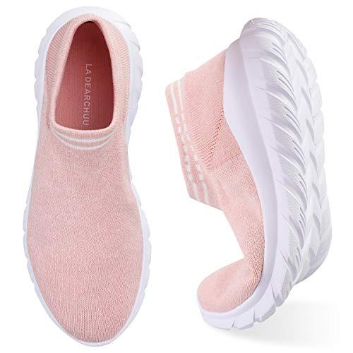 Damen Walkingschuhe Slip On Sneaker Atmungsaktiv Laufschuhe Turnschuhe Mesh Bequem Straßenlaufschuhe Sportschuhe Fitness Gym Sneaker Schuhe Größe EU 36-42 (Rosa, 39)