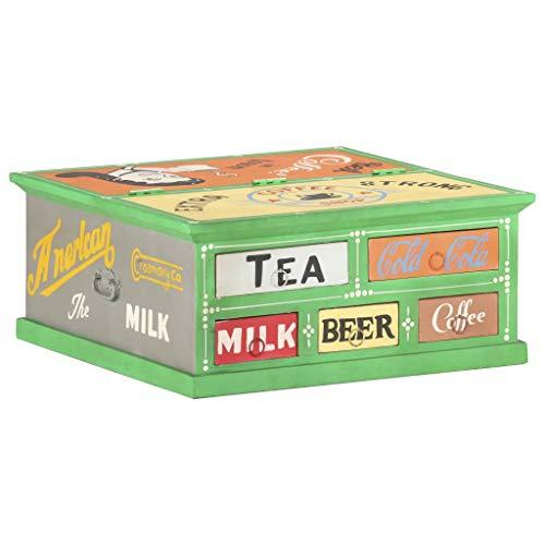 Preisvergleich Produktbild vidaXL Mangoholz Massiv Couchtisch mit 5 Schubladen Beistelltisch Kaffeetisch Sofatisch Wohnzimmertisch Teetisch Tisch Grün 68x68x30cm Handbemalt