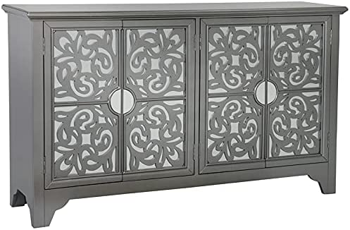 Mirrored Four Door Credenza in 40% OFF Cheap Sale Excellence Fuchsia Pink Hematite Gray