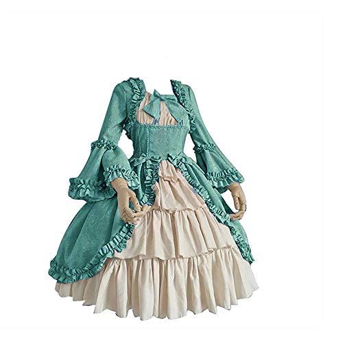 Efanhony Karneval Fasching Damen Mittelalterliche Kleid mit Trompetenärmel Mittelalter Party Kostüm Cosplay Gothic Retro Kleid Party Kostüm Viktorianischen Königin Kleider Kleidung Partykleider