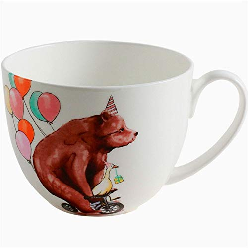 GFHTH Kaffeetassen 600 Ml Cartoon Niedlichen Bären Gedruckt Keramik Kaffeemilch Becher Große Kaliber Kaffeemilch EIS Obst Haferflocken Saft Tasse GeschenkeBallons