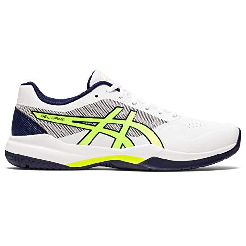 ASICS Herren Gel-Game 7 Tennisschuh, White Safety Yellow, 44.5 EU