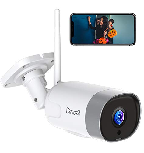 IHOUMI FHD 1080P Telecamera IP esterna, impermeabile IP66, telecamera IP con audio bidirezionale, visione notturna, rilevamento del movimento, compatibile con iOS/Android/Windows, lavora con Alexa