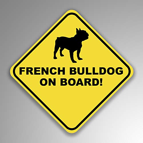 JMM Industries French Bulldog On Board Vinyl Decal Sticker Car Window Bumper 2-Pack 4-Inches by 4-Inches Premium Quality UV Protective Laminate PDS1241