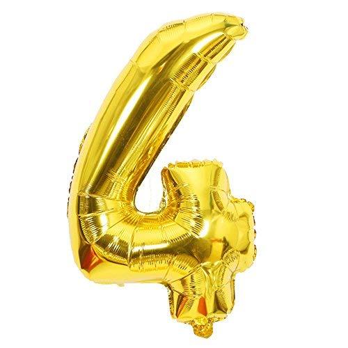 ShopVip Ballons Anniversaire Chiffre 4 Décoration Anniversaire Mariage Géant 80 CM - Grand Ballons Chiffres Or Doré - Ballon Chiffre 4 Ans