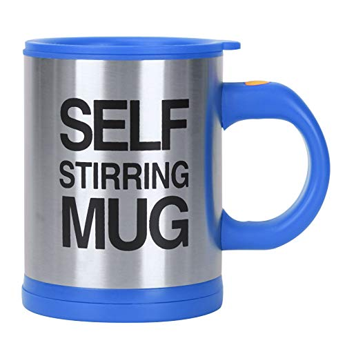 YORKING Electric Self Stirring Mug Stainless Steel Lazy Automatic Coffee Tea Milk Mixing Cup Blue