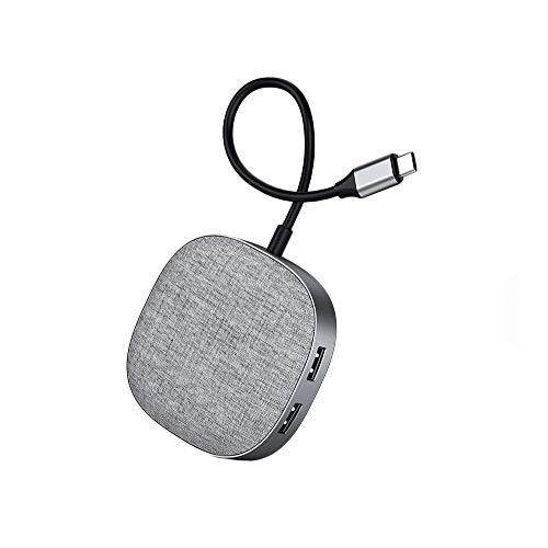 USB C Hub, 7 en 1 estación de acoplamiento USB, adaptador de dongle multipuerto con 4K HDMI, USB 3.0, lector de tarjetas SD / TF, PD, RJ45, compatible con la mayoría de los dispositivos tipo C,Gris
