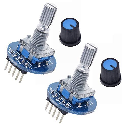 ANMBEST 2点20パルスインクリメンタル360度5ピンロータリーエンコーダモジュールブリックセンサー開発ArduinoRaspberryPi用ノブキャップ付きラウンドオーディオ回転ポテンショメータ