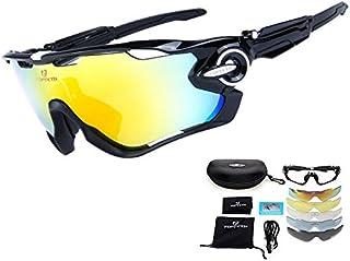 375d96ce8c TOPTETN Polarized Sports lunettes de soleil UV400 protection lunettes de  vélo avec 5 lentilles interchangeables pour