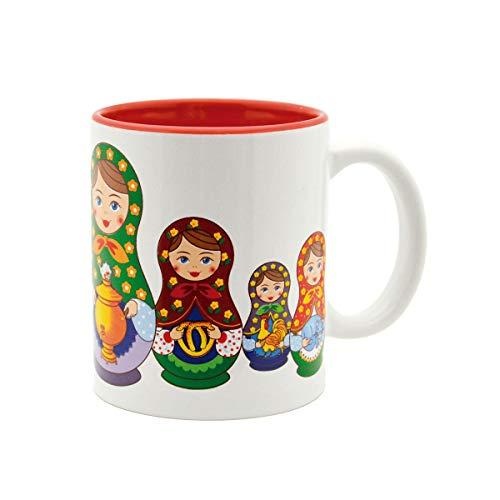E.H.G Keramik-Kaffeetasse mit Matrjoschka-Puppen-Motiv, 340 ml