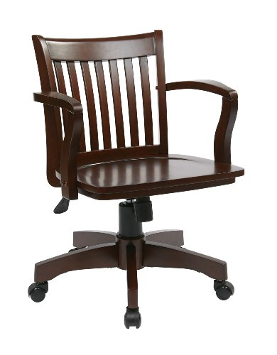 OSP Home Furnishings Deluxe Wood Bankers Desk Chair with Wood Seat, Espresso