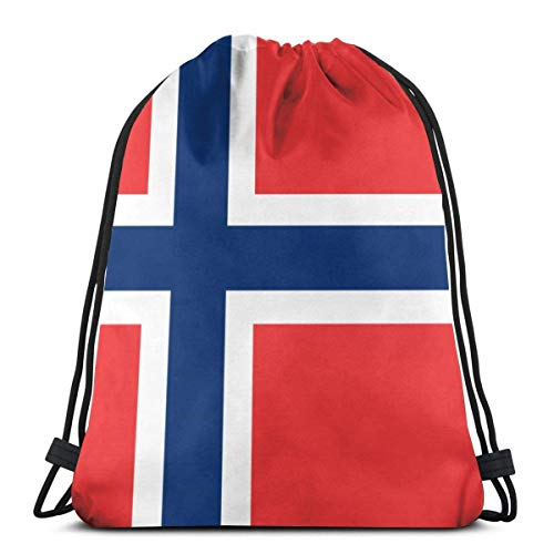 Yuanmeiju Norway Large Flag 3D Print Mochila con cordón Rucksack Shoulder Bags Bolsa de Gimnasio For Adult 16.9'X14'