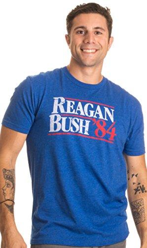 Reagan Bush '84 | Vintage Style Conservative Republican GOP Unisex T-shirt-Adult,XL