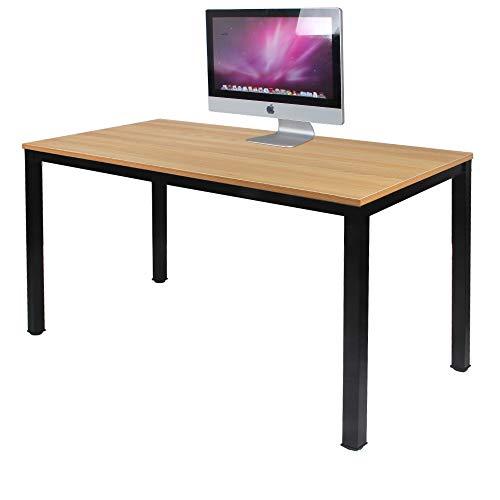 SogesHome Escritorio de Oficina 120 x 60 x 75 cm PC Escritorio Estación de Trabajo para Uso de Oficina en el hogar Mesa de Escritura, Mesa de Comedor Mesa de Conferencia,Teca & Negro,AC3BB-120-SH
